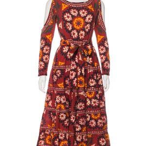 Rhode Resort burgundy, pattern print Midi dress
